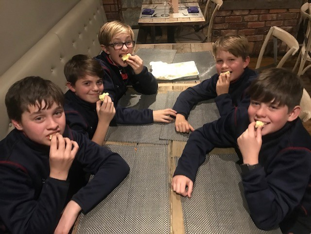 Pupils from Berkhamsted Boys enjoy eating part of the Worlds Largest Marshmall